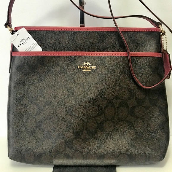 NWT Authentic Coach Signature Dark Brown Sling Bag cd2ff94083756